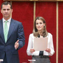 Los Príncipes de Asturias en la entrega de becas de la Fundación Caja Madrid