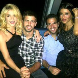 Las parejas formadas por Shakira y Piqué y Cesc Fábregas y Daniella Semaan