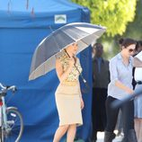 Scarlett Johansson durante el rodaje de 'Hitchcok'