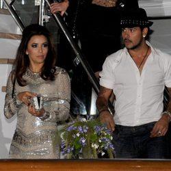 Eva Longoria y Eduardo Cruz en una de las fiestas celebradas en el Festival de Cannes 2012