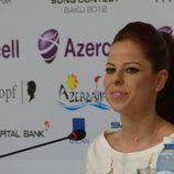 Pastora Soler durante una rueda de prensa en Bakú, ciudad de Eurovisión 2012