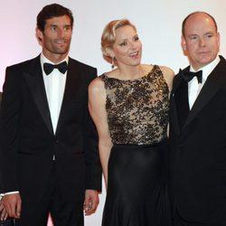Los Príncipes de Mónaco con Mark Webber y su mujer en la gala posterior al Gran Premio de F1 de Mónaco