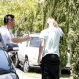 Justin Bieber en un momento de su enfrentamiento con un fotografo en Los Angeles