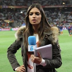 Sara Carbonero durante un partido de la Selección Española