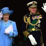 La Reina Isabel y el Duque de Edimburgo en el Jubileo de Oro de 2002