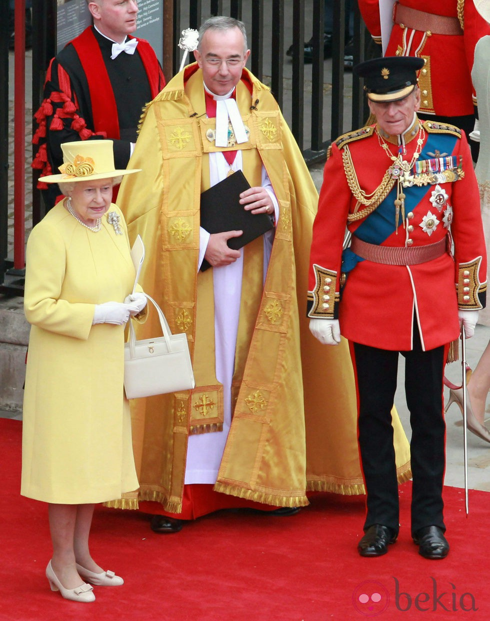 La Reina Isabel y el Príncipe Felipe de Inglaterra en la boda de los Duques de Cambridge