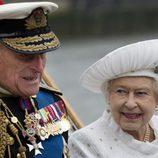 La Reina Isabel II y el Duque de Edimburgo en el Jubileo de la Reina