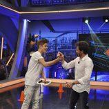 Justin Bieber y Pablo Motos con un patinete eléctrico en 'El Hormiguero'