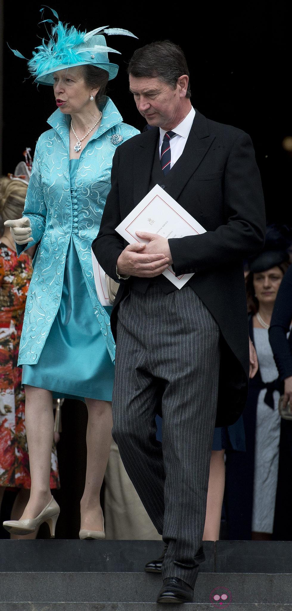 Ana de Inglaterra y Timothy Laurence en la misa de acción de gracias del Jubileo de Diamante