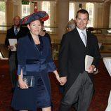 Peter Phillips y Autumn Kelly en la recepción de Guildhall del Jubileo de Diamante