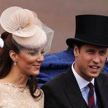 Los Duques de Cambridge en el desfile de carruajes del Jubileo de Diamante
