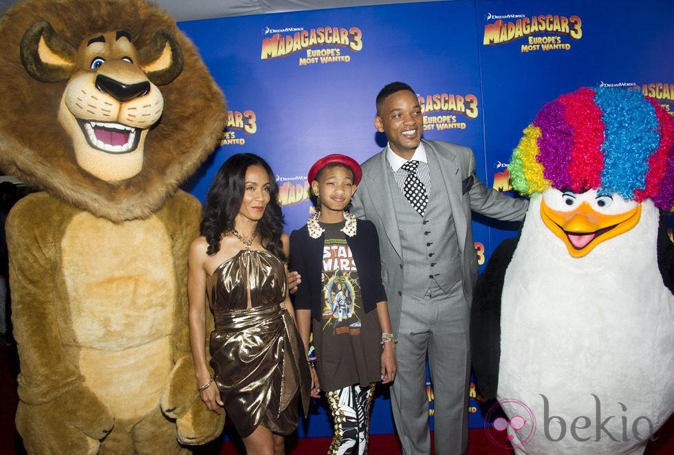Will Smith y su familia en el estreno de 'Madagascar 3' en Nueva York