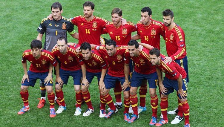 Alineación de la selección española en el partido contra Italia de la Eurocopa 2012