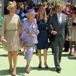 La Reina Beatriz, la Princesa Mabel y Guillermo y Máxima de Holanda en la boda de María Carolina de Borbón-Parma
