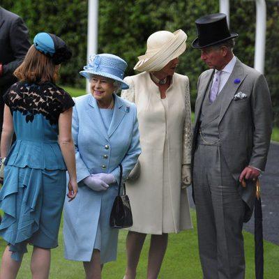 Eugenia de York, la Reina Isabel, la Duquesa de Cornualles y Carlos de Inglaterra en Ascot 2012