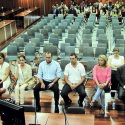 Isabel Pantoja, Mayte Zaldívar y Julián Muñoz en la primera sesión del caso Malaya