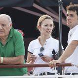 Amancio Ortega, Marta Ortega y Sergio Álvarez en el Concurso de Saltos de Monte Carlo