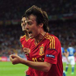 David Silva celebra el primer gol de España en la final de la Eurocopa 2012