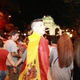 Banderas de España tras el título de Campeones de Europa 2012