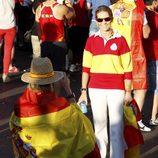 La Infanta Elena en la celebración en Madrid del triunfo de 'La Roja' en la Eurocopa 2012