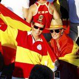 La Infanta Elena y María Zurita en la celebración en Madrid del triunfo de 'La Roja' en la Eurocopa 2012