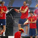 Javi Martínez, Torres, Negredo, Silva y Jordi Alba celebran con cerveza la Eurocopa 2012