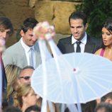 Leo Messi, Cesc Fábregas y Daniella Semaan en la boda de Andrés Iniesta y Anna Ortiz