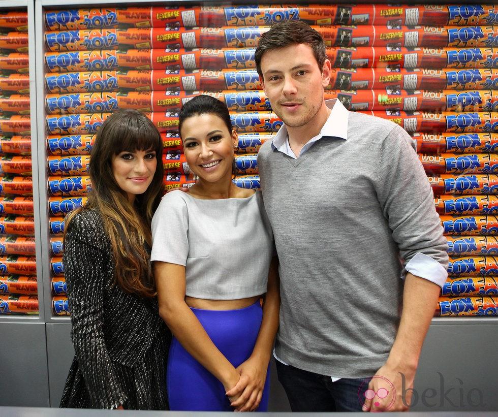 Lea Michele, Naya Rivera y Cory Monteith de 'Glee' en la Comic-Con 2012