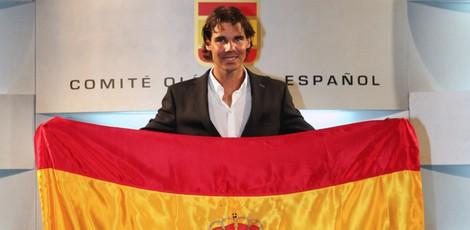Rafa Nadal en su presentación como abanderado del equipo olímpico español en Londres 2012