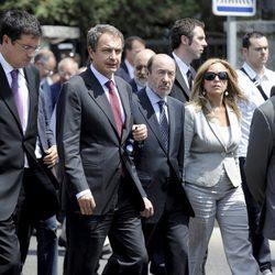 Zapatero, Rubalcaba y Trinidad Jiménez en el funeral de Gregorio Peces-Barba
