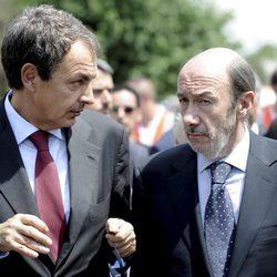 Zapatero y Rubalcaba en el funeral de Gregorio Peces-Barba