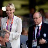 Alberto y Charlene de Mónaco en la ceremonia de inauguración de los Juegos Olímpicos