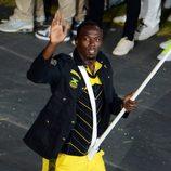 Usain Bolt en la ceremonia de apertura de Londres 2012