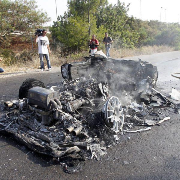 Estado del Ferrari de Ever Banega tras el accidente que sufrió en Valencia