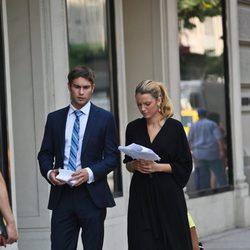 Blake Lively y Chace Crawford en un descanso del rodaje de la sexta temporada de 'Gossip Girl'