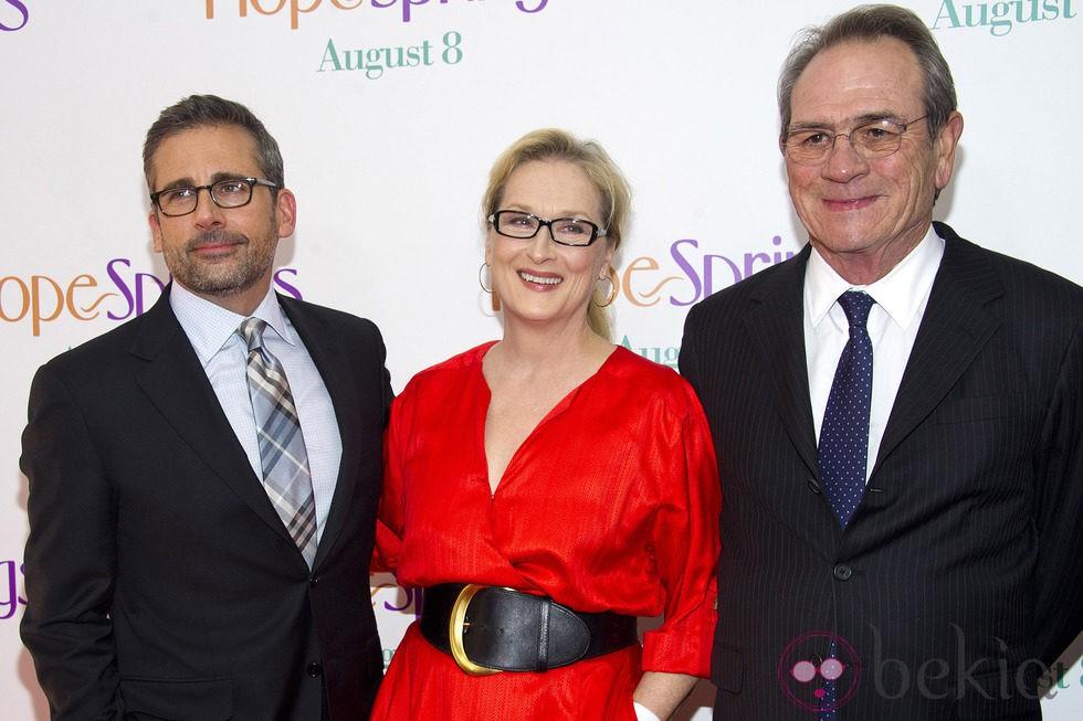 Meryl Streep, Steve Carell y Tommy Lee Jones en la premiere de 'Hope Springs' en Nueva York