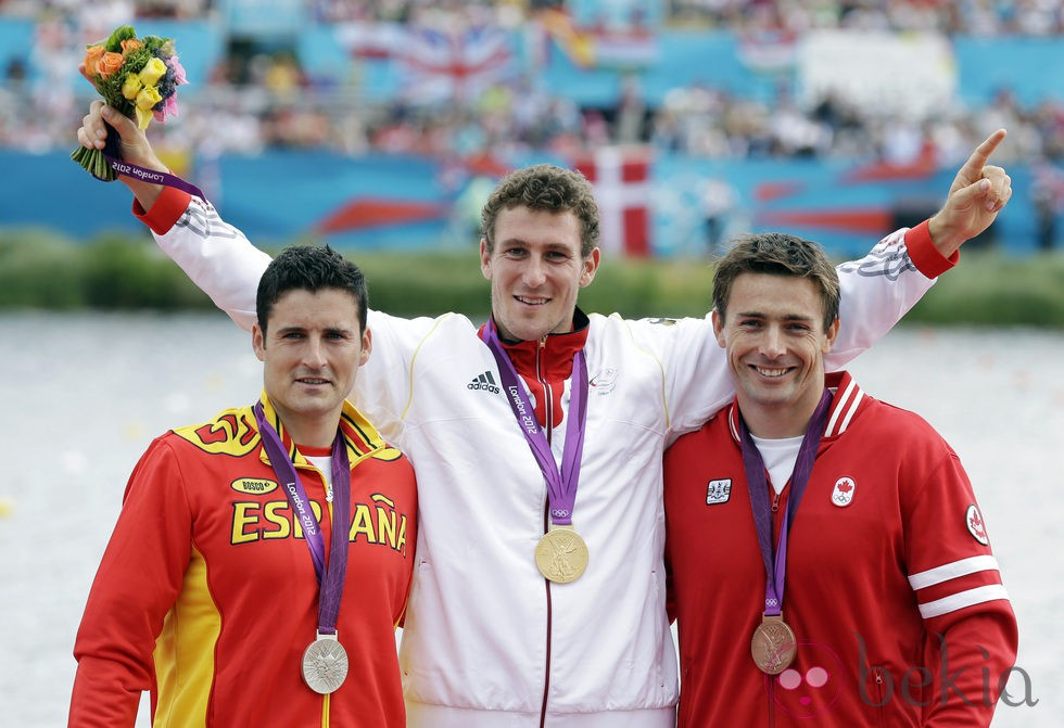 David Cal, el alemán Sebastian Brendel y Mark Oldershaw en Londres 2012