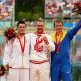 David Cal en el podium en los Juegos Olímpicos de Pekín 2008