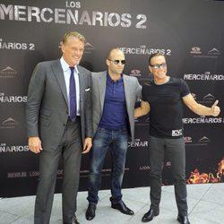 Jason Statham, Jean Claude Van Damme y Dolph Lundgren en la presentación de 'Los Mercenarios 2' en Madrid