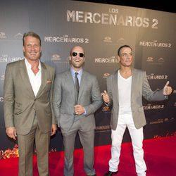 Jason Statham, Jean Claude Van Damme y Dolph Lundgren en la premiere de 'Los Mercenarios 2' en Madrid