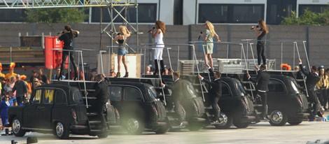 Las Spice Girls en el ensayo de su actuación en la ceremonia de clausura de los JJ.OO  de Londres 2012
