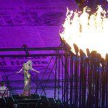 Kate Moss en la ceremonia de clausura de los Juegos Olímpicos