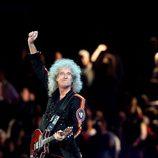 Brian May de Queen en la clausura de los Juegos Olímpicos