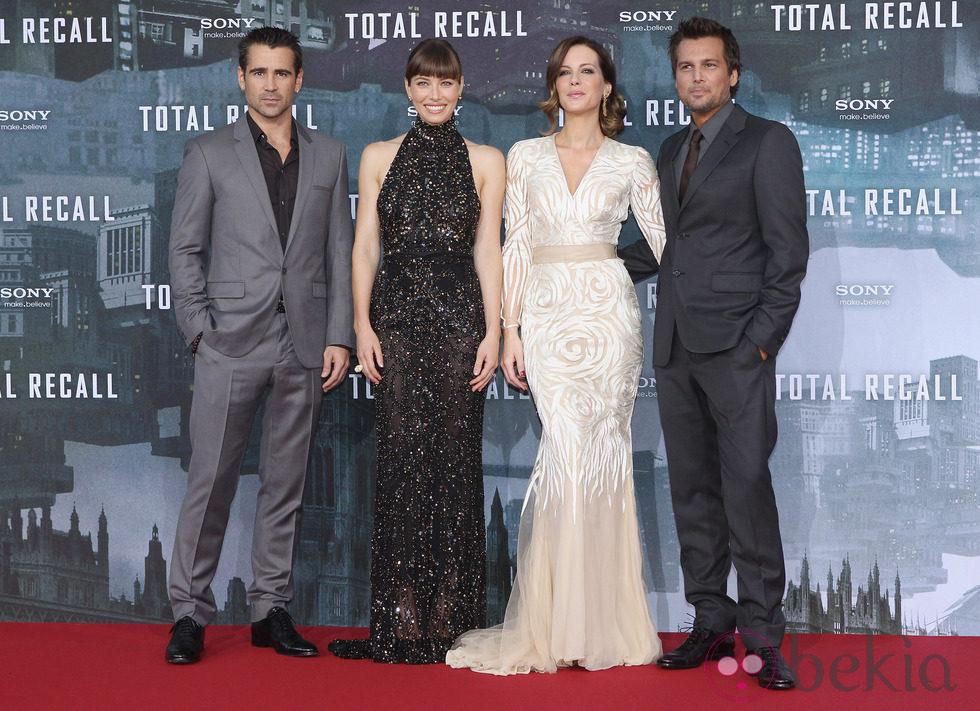 Colin Farrell, Jessica Biel, Kate Beckinsale y Len Wiseman en el estreno de 'Desafío total' en Berlín