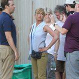 Jennifer Aniston en el set de rodaje tras anunciar su compromiso de boda