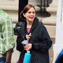 Leighton Meester en un descanso del rodaje de la sexta temporada de 'Gossip Girl'