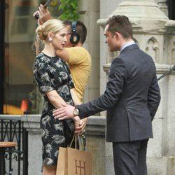 Ed Westwick y Kelly Rutherford rodando la sexta temporada de 'Gossip Girl'