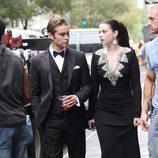 Michelle Trachtenberg y Chace Crawford durante el rodaje de la sexta temporada de 'Gossip Girl'
