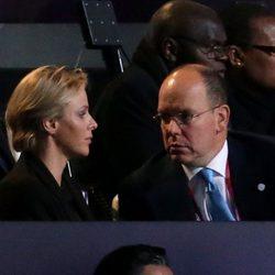 Alberto y Charlene de Mónaco en la apertura de los Juegos Paralímpicos de Londres 2012