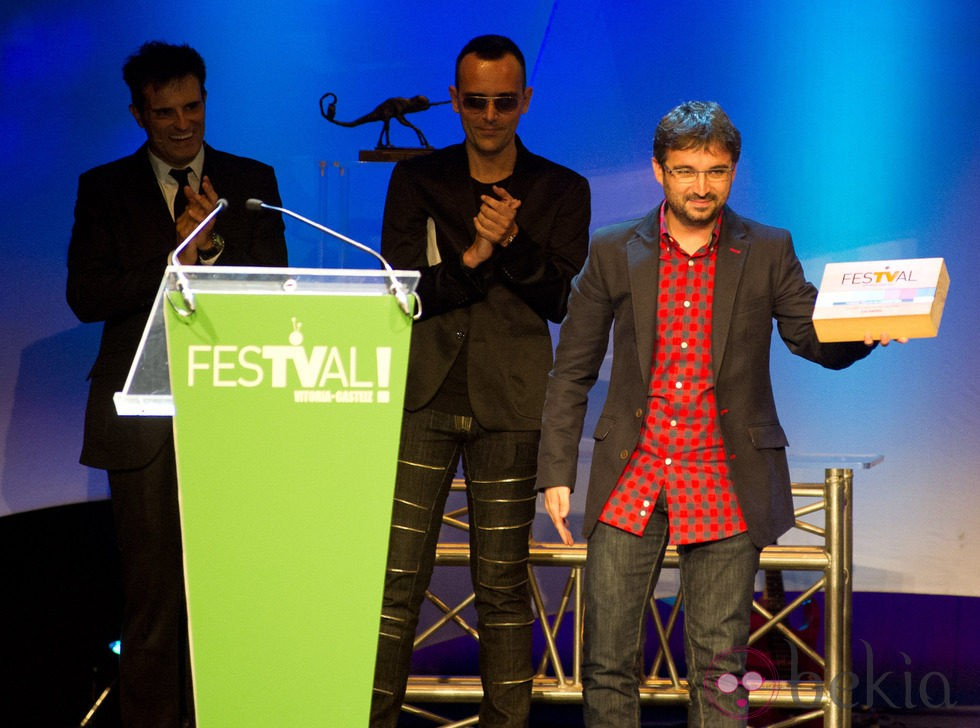Jordi Évole en la ceremonia de clausura del FesTVal de Vitoria 2012
